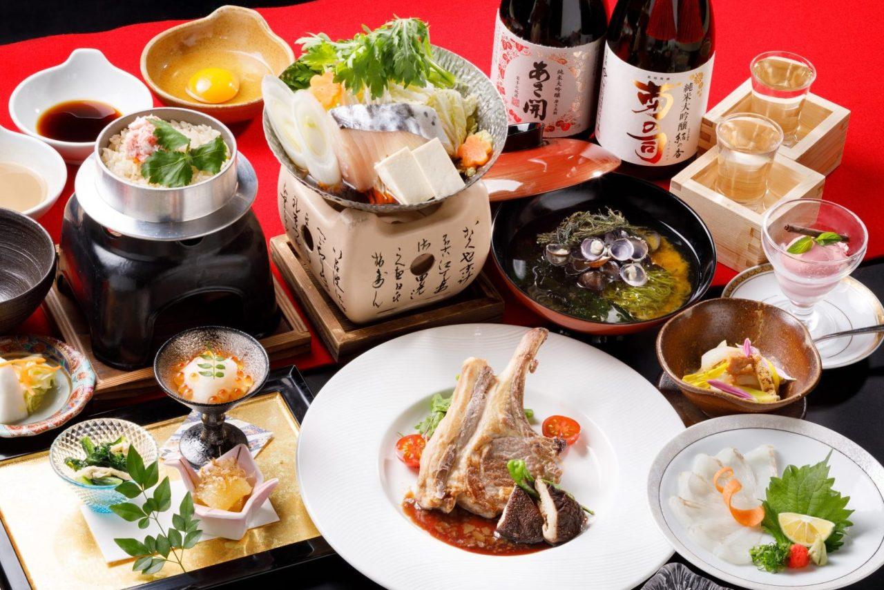1・2月おすすめディナー「選べる二種の鰆鍋と骨付きラム肉の葡萄醤油焼きコース」