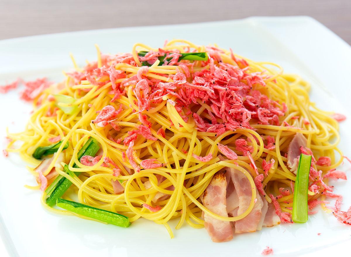 桜エビと県産青菜のスパゲティ